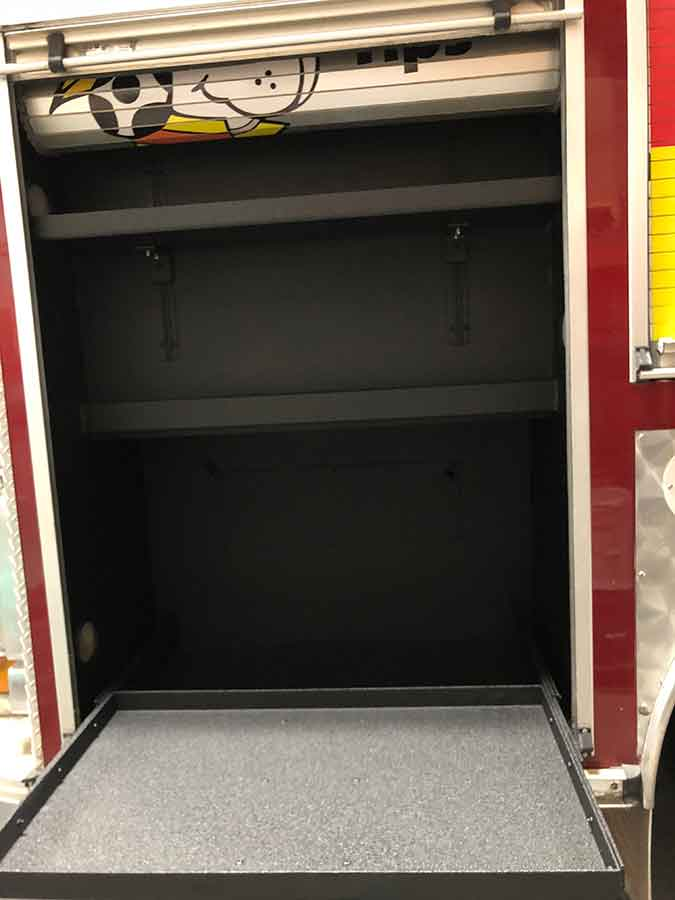 Fire Truck Side Hatch - Guardian™ Bed Liner - Phoenix Protective Coatings
