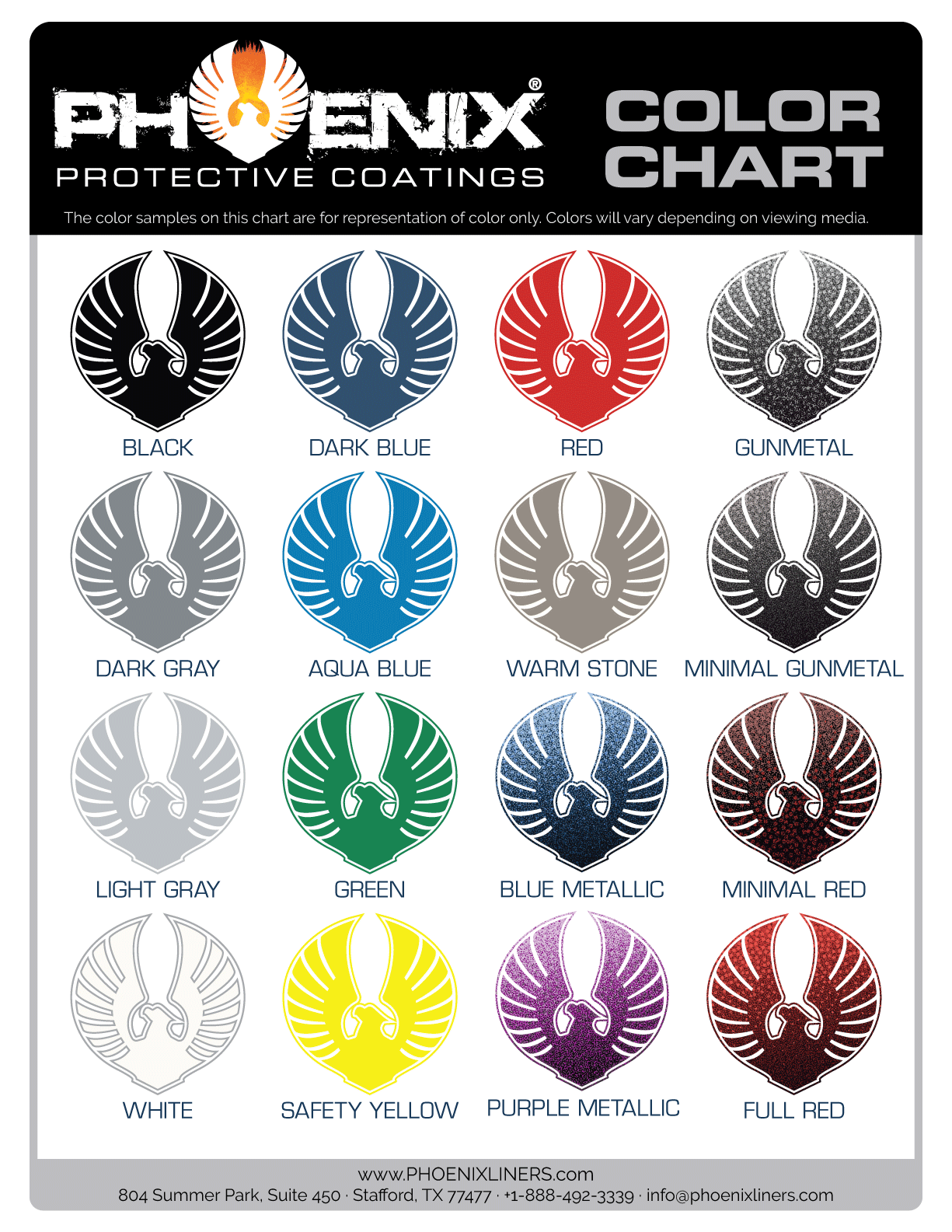 Color Chart for Phoenix Protective Coatings